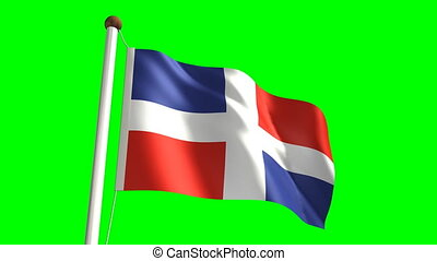 Dominican Republic flag video seamless green screen
