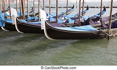 Venice Gondolas at moorings in Grand Canal