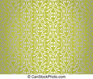 green & silver vintage wallpaper background design