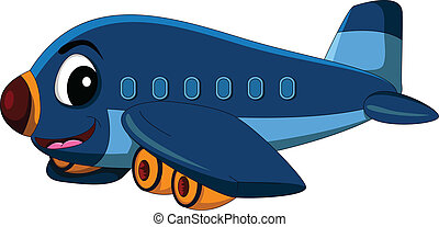 cartoon airplane flying - vector illustration of vector...