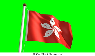 Hong Kong flag video (seamless & green screen)