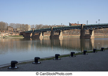 View of the Garonne in Toulouse, France.