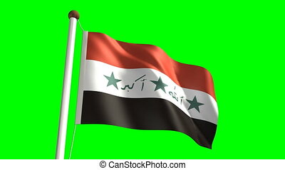 Iraq flag video seamless green screen