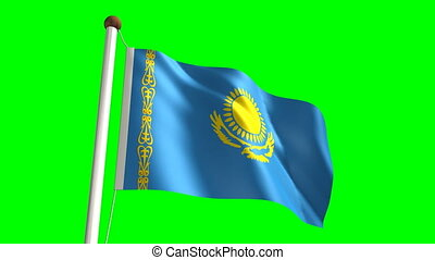 Kazakhstan flag video seamless green screen