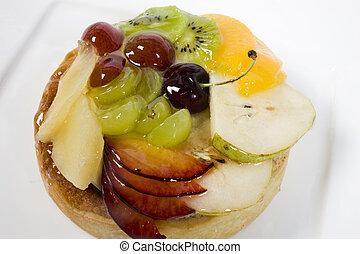 pastel, fruta, delicioso