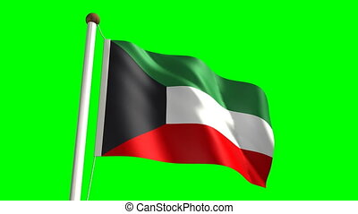 Kuwait flag video seamless green screen