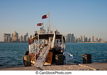 Traditional arabian dhows in Doha