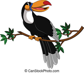cute toucan sitting on tree