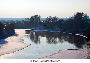 Winter lanscape with river