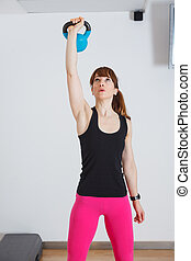 Fit women doing gym exercise
