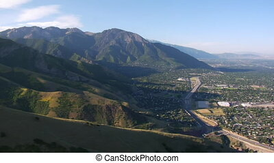 aerial shot of Salt Lake City and mountains