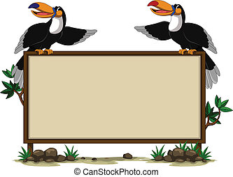 couple toucan sitting on blank sign - vector illustration of...