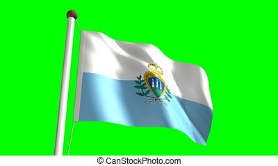 San Marino flag video seamless green screen