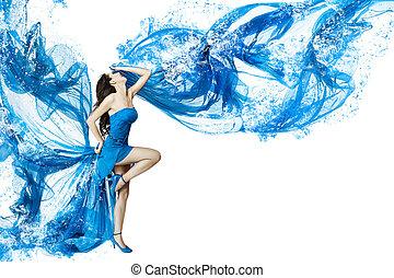 Woman dance in blue water dress dissolving in splash....