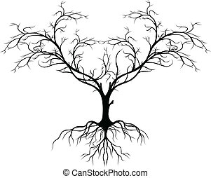 tree silhouette without leaf - vector illustration of tree...