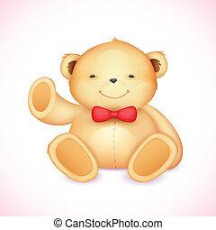 Cute Teddy Bear - illustration of cute teddy bear waving...