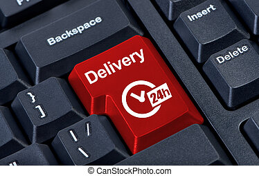 Delivery button with clock 24h. - Delivery keyboard button...