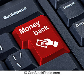 Money back button. - Money back button with hand and money.