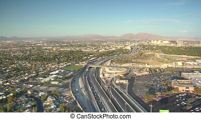 aerial shot of Las Vegas freeway daytime
