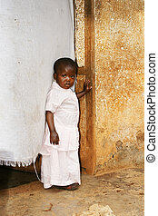 Cute but sad little African girl - Cute but sad little black...