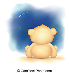 Cute Teddy Bear - illustration of cute teddy bear waving...