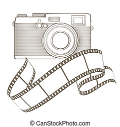 Retro photo camera with vignette