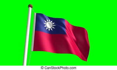 Taiwan flag video seamless green screen