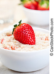 Porridge with strawberries - Cereal with whole strawberries...