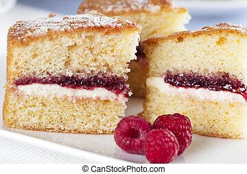 Spongecake and Raspberries - Victoria sponge cake with cream...