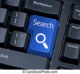 Search button computer keyboard with magnifying glass. -...