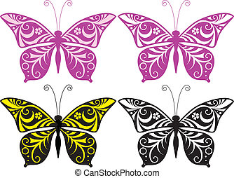 Inwrought butterfly silhouette