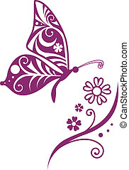 Inwrought butterfly silhouette and flower branch