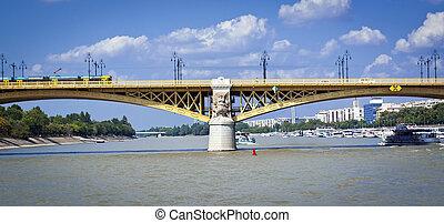 Bridge over the river of Danube in Budapest