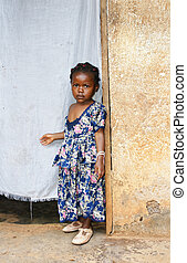 Serious little African girl - Cute but serious little black...