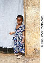sérieux, peu,  girl, africaine