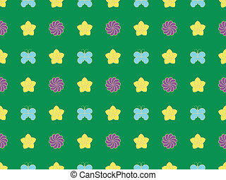 pattern with flowers and butterflie