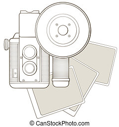 Vintage photo camera with vignette