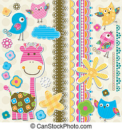 cute giraffe and birds scrapbook elements