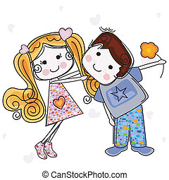 be my valentine card with girl and boy
