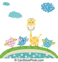 cute owls & giraffe - cute happy owls & giraffe
