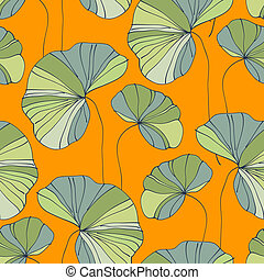 waterlily seamless flower tropical pattern vector...