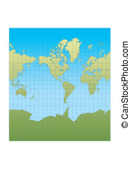 New mercator Americas - Map of the world centered in America...
