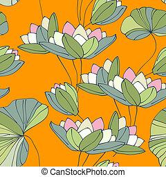 nénuphar, seamless, fleur, exotique, modèle