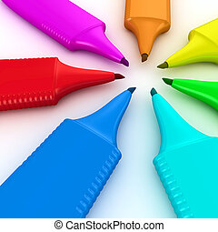 Felt tip pens - Multicolored felt tip pens in a circle on...
