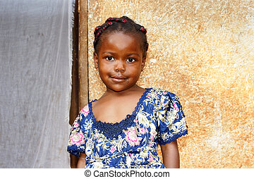 Sweet little African girl - Portrait of a cute and sweet...