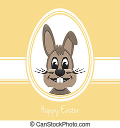 happy easter bunny white egg yellow background