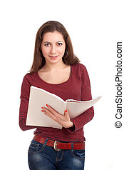 Young woman reading womens magazine - Portrait of young...