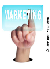 marketing - a man finger clicking on a button with the word...