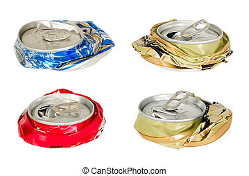 Thera are four battered cans - Four blue red and golden...