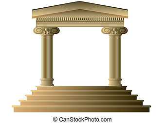 Ancient columns Abstract building Exterior with Ionic...